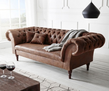 Couch Perida Braun 235x92 cm Antik Optik abgesteppt Chesterfield