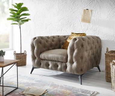 Loungesessel Corleone Taupe 120x97 cm Vintage Clubsessel