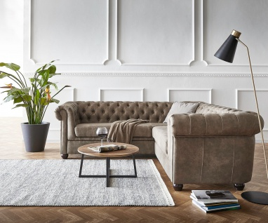 Eckcouch Chesterfield 209 cm Taupe Abgesteppt