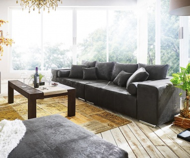 Bigsofa Marbeya Anthrazit 285x115 cm Antik Optik mit Kissen Big Sofa