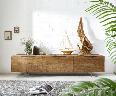 Kommode Pascale Natur 230x48x55 cm Exotic Wood Sideboard