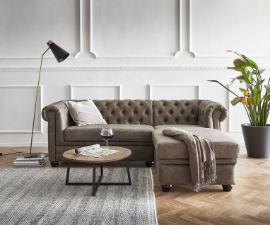Couch Chesterfield 200 cm Taupe Abgesteppt Ottomane Rechts
