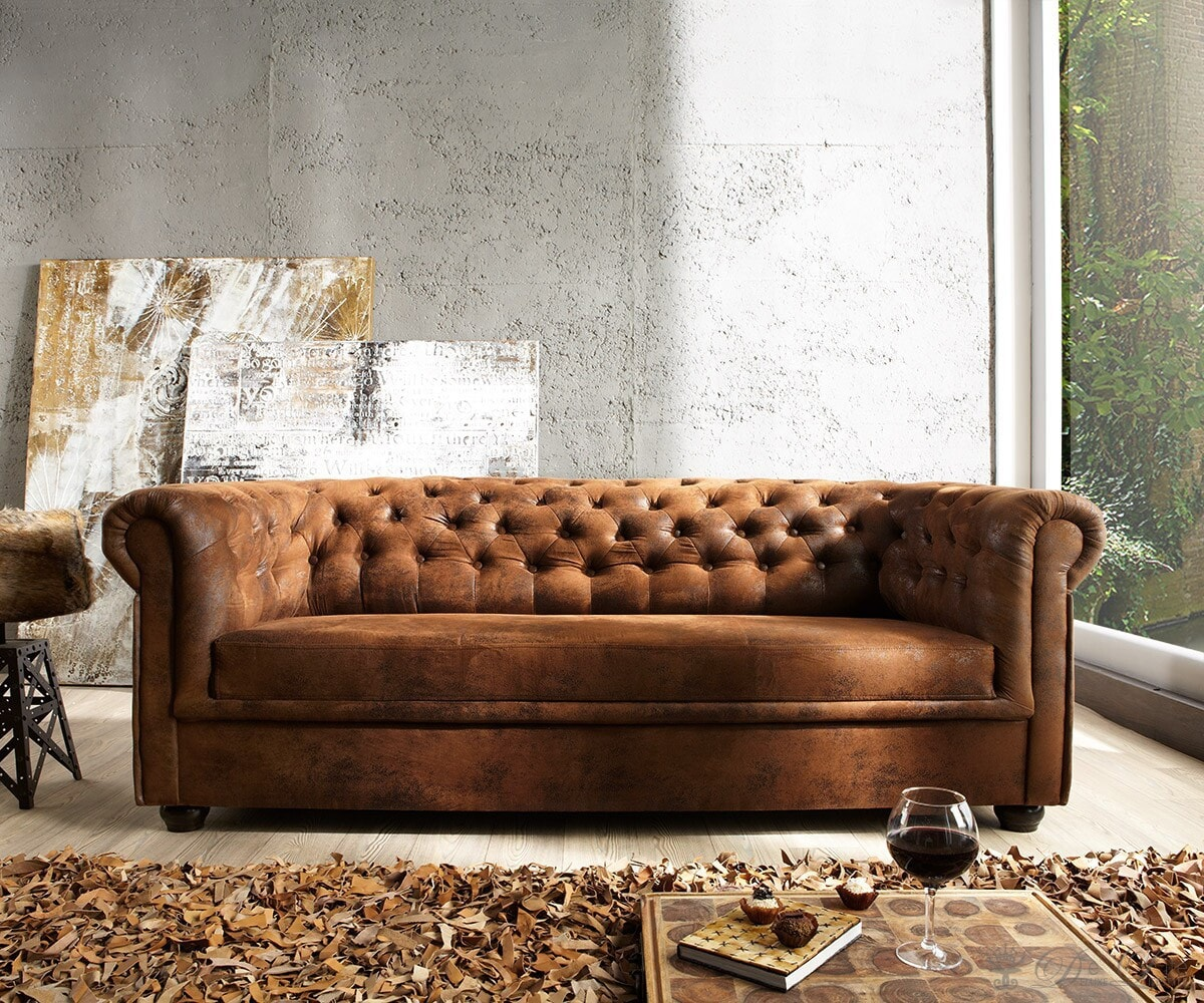 couch chesterfield braun 200x92 cm antik optik abgesteppt. Black Bedroom Furniture Sets. Home Design Ideas