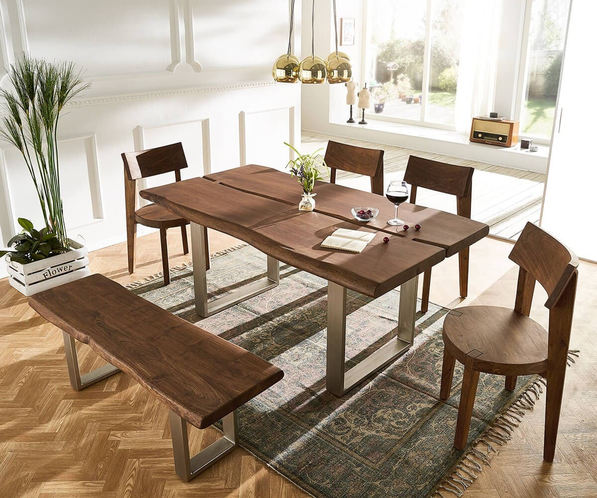 massivholztisch live edge akazie braun 180x100 platte 5 5 cm gestell schmal baumtisch kaufen. Black Bedroom Furniture Sets. Home Design Ideas