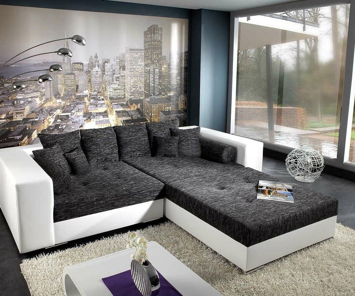xxl sofa marlen schwarz weiss 300x140 inklusive hocker bigsofa kaufen bei delife gmbh. Black Bedroom Furniture Sets. Home Design Ideas