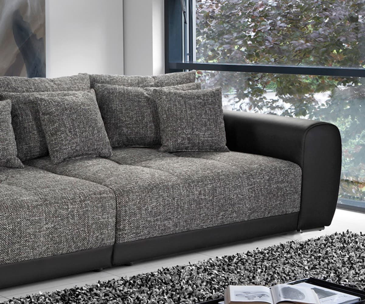 polsterecke valeska schwarz grau 310x135 inklusive hocker big sofa kaufen bei delife gmbh. Black Bedroom Furniture Sets. Home Design Ideas