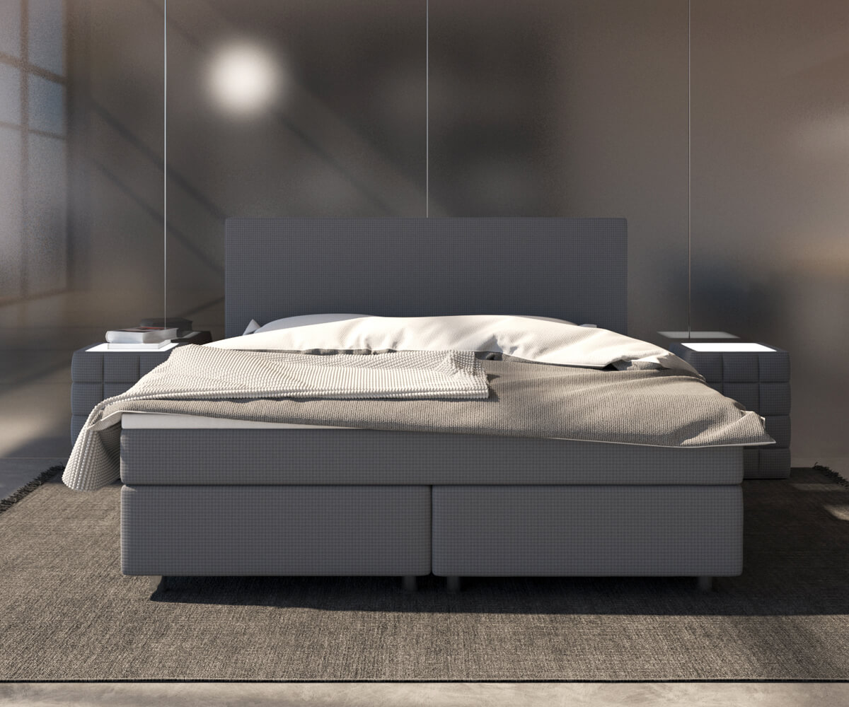 bett cloud grau 140x200 cm matratze und topper federkern boxspringbett kaufen bei delife gmbh. Black Bedroom Furniture Sets. Home Design Ideas