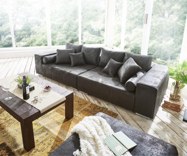 Bigsofa Marbeya Anthrazit 285x115 cm Antik Optik inklusive Hocker Big Sofa