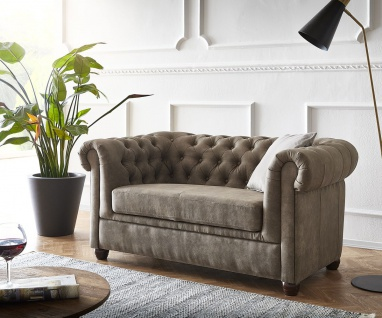 Couch Chesterfield 2-Sitzer Vintage Taupe Abgesteppt