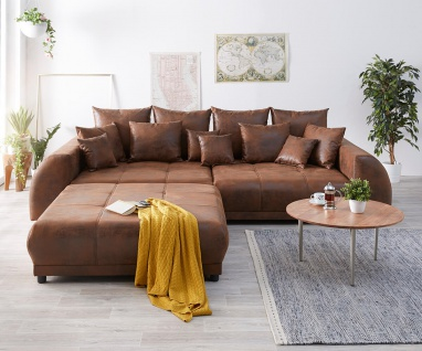 Bigsofa Violetta Braun 310 x 135 cm Antik Optik inklusive Hocker Kissen Big-Sofa
