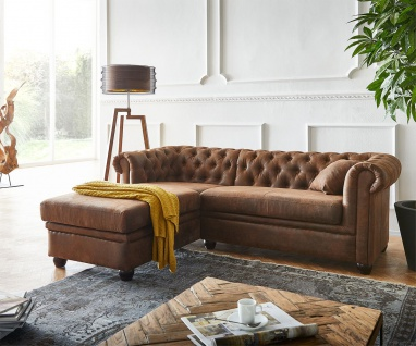 Couch Chesterfield 200 cm Braun Abgesteppt Ottomane Links