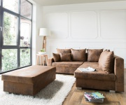Couch Lavello Braun 210x210 Ottomane Rechts Hocker Antik Optik Ecksofa