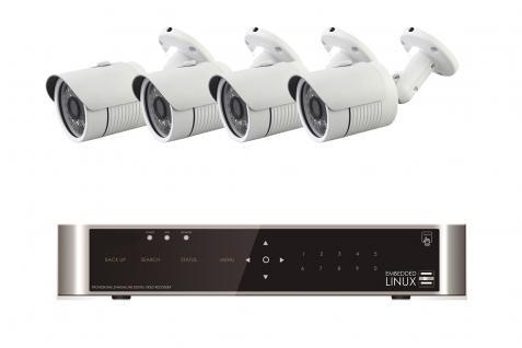 E-8004 SET 4 Kanal Full-HD Hybrid Videoüberwachung mit 4 HD 271 Kameras