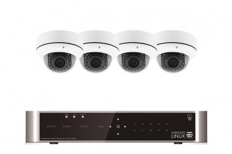 E-8004 SET 4 Kanal Full-HD Hybrid Videoüberwachung mit 4 HD 491 Kameras