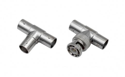 3 Stück BNC Kupplung Stecker T-Adapter Y-Weiche Video Kamera Überwachungskamera - Vorschau 2