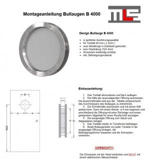 MLS Bullauge B4000 aus gebürstetem Edelstahl für Wandstärke 40 +/- 2 mm - Vorschau 3