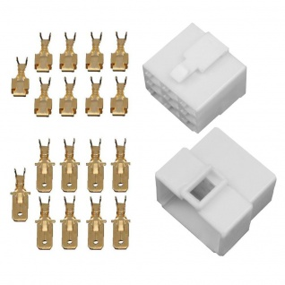 10x Gehäuse 9 polig Stecker 6, 3mm Flachsteckhülsen Flachstecker Steckergehäuse
