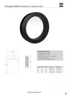 MLS Bullauge B4000 A8 Rundfenster Aluminium schwarz matt Ø 40 cm Glas matt 01... - Vorschau 3
