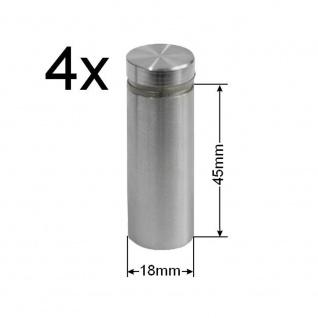 4x Edelstahl Abstandshalter Ø 18mm Spiegelhalter Spiegelbefestigung Glashalter