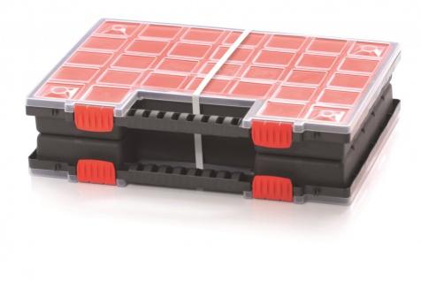 Sortimentsboxen Doppel Sortimentskasten Sichtkasten Koffer NOR-DUO