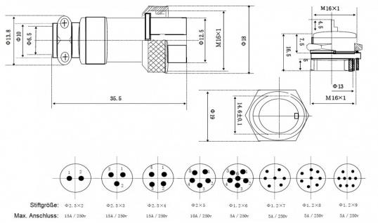 Einbaustecker Steckverbindung Borddurchführung Steckdose Mikrofon Kupplung - Vorschau 3