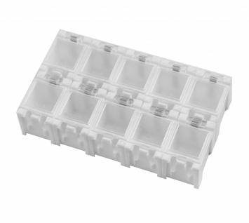 10x SMD Container Weiß aneinandersteckbar Mäuseklo Sortiment Box SMT 0805 1206