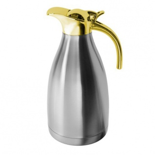 Edelstahl Optik Kaffeekanne Gold Rand 1, 5l Teekanne unisoliert Getränk