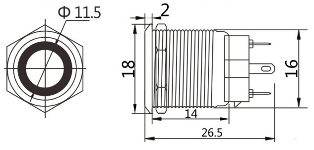 Taster Schalter Beleuchtung Klingel Drucktaster Druckschalter 12V LED Edelstahl