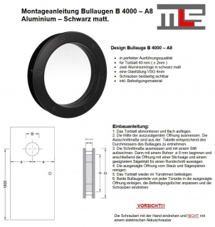 MLS Bullauge B4000 A8 Rundfenster Aluminium schwarz matt Ø 30 cm Glas klar 01... - Vorschau 2