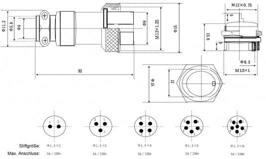 Einbaustecker Steckverbindung Borddurchführung Steckdose Mikrofon Kupplung - Vorschau 4