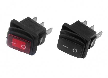 Wippenschalter Spritzwassergeschützt Rot / Schwarz Wippschalter Schalter 250V 6A