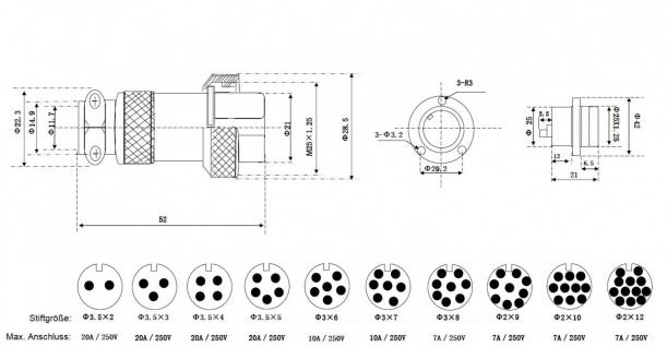 42mm Hochstrom Einbau Steckverbindung Einbaustecker Borddurchführung - Vorschau 2