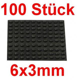 100 Geräte Gummi Füße Ø 6mm Höhe 3mm selbstklebend Gummifüße Gerätefüße