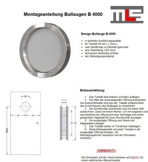 MLS Bullauge B4000 aus gebürstetem Edelstahl für Wandstärke 40 +/- 2 mm - Vorschau 2
