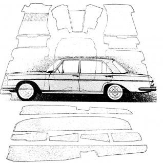 Mercedes Teppich W108 ab Bj. 69 Velours mittelgrau Keder Stoff schwarz