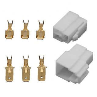10x Gehäuse 3 polig Stecker 6, 3mm Flachsteckhülsen Flachstecker Steckergehäuse