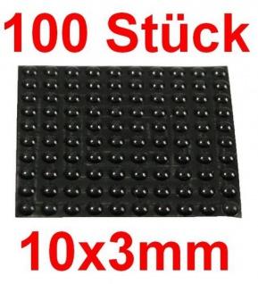 100 Geräte Gummi Füße Ø 10mm Höhe 3mm selbstklebend Gummifüße Gerätefüße