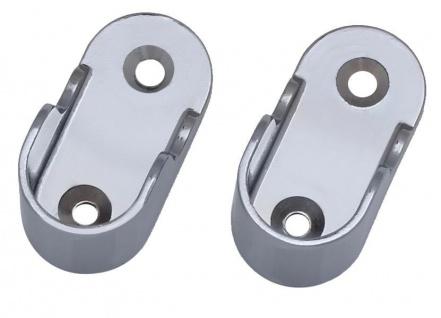 2x Rohr Wandhalter Ovalrohr Halter Kleiderstange Stangenhalter Garderobe 1-14 - Vorschau 2