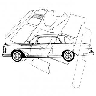 Mercedes W111 Coupe Flachkühler Teppich Velours bambus Keder Kunstleder braun...