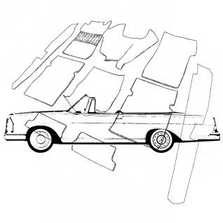 Mercedes W111 Cabrio Hochkühler Teppich Velours mittelgrau Keder Stoff schwarz