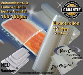 Endlosrollen - Folienrollen goffriert 12 lfm x 25cm (L/B), für ALLE Vakuumgeräte z.B. Foodsaver LA.VA Lava Solis Genius Gastroback etc.