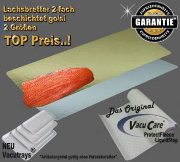 15 x Lachsbretter sort. 10 Stk. 13.8 x 35cm & 5 Stk. 17,5 x 57cm, 2-fach beschichtet go./si. für ALLE Vakuumbeutel Strukturbeutel Vakuutuete Vakuumfolien - Vorschau 1