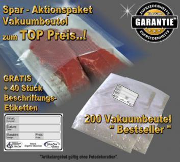 200 Vakuumbeutel goffriert 25 x 35 cm -Sparpaket- incl. 40 Etiketten GRATIS, für ALLE Vakuumgeräte z.B. Foodsaver, LA.VA, Solis, Genius, Gastroback etc.