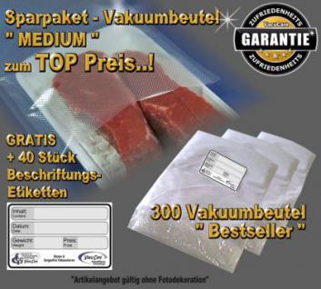 300 Vakuumbeutel goffriert, Sparpaket MEDIUM incl. 40 Etiketten GRATIS, ALLE Vakuumgeräte z.B. Foodsaver, LA.VA, Solis, Genius, Gastroback etc.