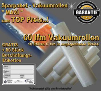 60 lfm Endlosrollen Vakuumrollen goffriert Breite 20cm Sparpaket MAXI incl. 80 Etiketten GRATIS, Strukturbeutel Vakuumtuete Vakuumfolie für alle Vakuumiergeräte
