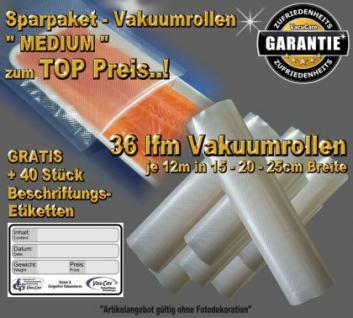 36 lfm Vakuumrollen goffriert -DIE BESTEN- Sparpaket MEDIUM MIX incl. 40 Etiketten GRATIS, für ALLE Vakuumgeräte z.B. Foodsaver, LA.VA, Solis, Genius, Gastroback etc.