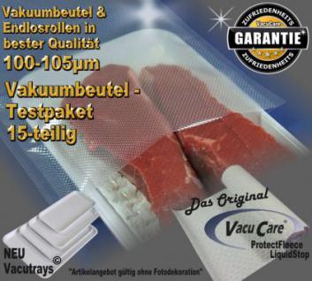 Testpaket 15-teilig Vakuumbeutel goffriert, für ALLE Vakuumierer Vakuumiergeräte z.B. Foodsaver, LA.VA, Solis, Genius, Gastroback etc. - Vorschau 1