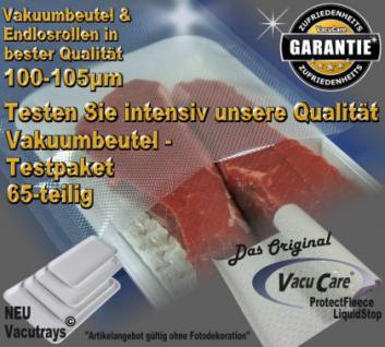 Testpaket 65-teilig Vakuumbeutel goffriert, Strukturbeutel Vakuumtuete Vakuumfolie für ALLE Vakuumierer Vakuumiergeräte - Vorschau 1