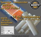36 lfm Vakuumrollen goffriert -Die Besten- Sparpaket MEDIUM incl. 40 Etiketten GRATIS, Strukturbeutel Vakuumtuete Vakuumfolie für alle Vakuumierer