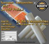 24 lfm Vakuumrollen goffriert -sortiert- Sparpaket MINI incl. 24 Etiketten GRATIS, Strukturbeutel Vakuumtuete Vakuumfolie für alle Vakuumiergeräte